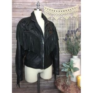 VTG Vintage Black Leather Fringe Lined Jacket